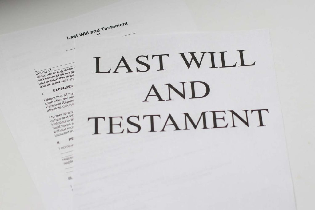 legal papers of last will and testament